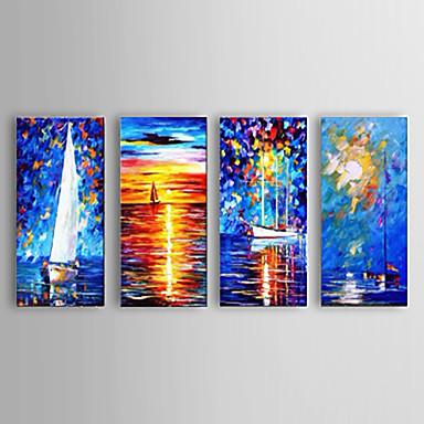 Kézzel festett Absztrakt / Landscape / Csendélet / Absztrakt tájképModern Négy elem Vászon Hang festett olajfestmény For lakberendezési