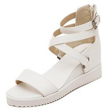 Mulheres Sapatos Jeans Verão Salto Plataforma para Casual Ao ar livre Branco Preto