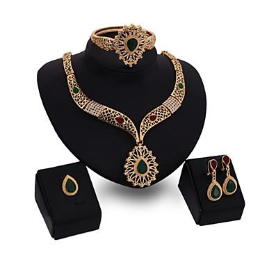 Cristal Conjunto de jóias - Banhado a Ouro 18K Importante, Punhos, Vintage Incluir Dourado Para Festa / Ocasião Especial / Aniversário