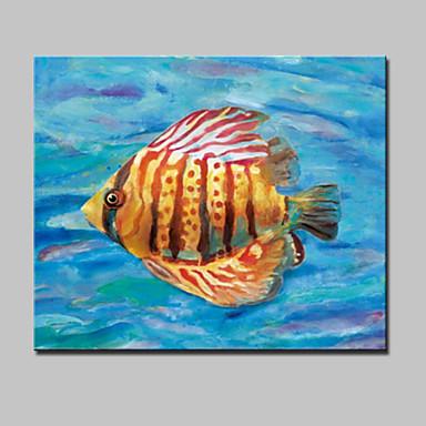 Maalattu Abstrakti / Eläin / PopModerni 1 paneeli Kanvas Hang-Painted öljymaalaus For Kodinsisustus