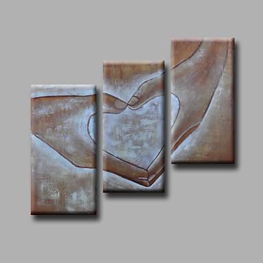 Maalattu AbstraktiModerni 3 paneeli Kanvas Hang-Painted öljymaalaus For Kodinsisustus
