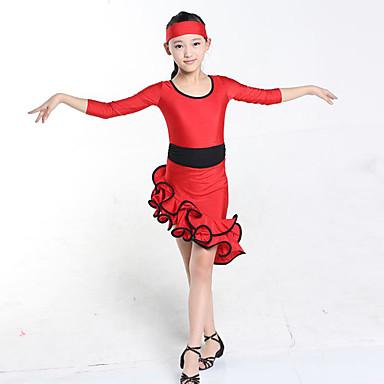 Latein-Tanz Kleider Kinder Vorstellung Elastan Drapiert 1 Stück Lange Ärmel Normal Kleid