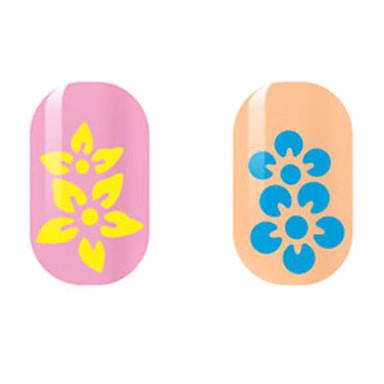 צהוב / כחול פרח מדבקות מסמר חלול