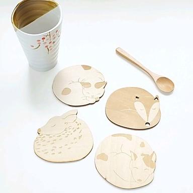 בעלי חיים חמודים מחצלת כוס קפה תה ברת חנות כרית שולחן תחתית ספל כוס מגולף מעץ חלולה (אקראי)