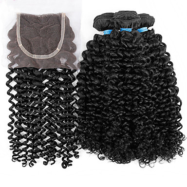 Hair Vetülék, zárral Maláj haj Kinky Curly 18 hónap 4 darab haj sző