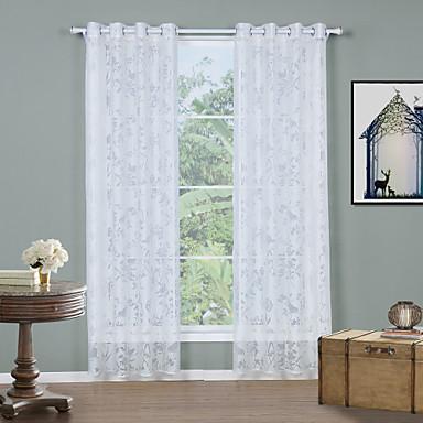 Ösen zwei Panele Window Treatment Modern, Jacquard Solide Wohnzimmer Polyester Stoff Gardinen Shades Haus Dekoration
