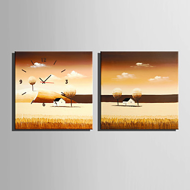 Quadratisch Modern/Zeitgenössisch Wanduhr,Anderen Leinwand40 x 40cm(16inchx16inch)x2pcs/ 50 x 50cm(20inchx20inch)x2pcs/ 60 x