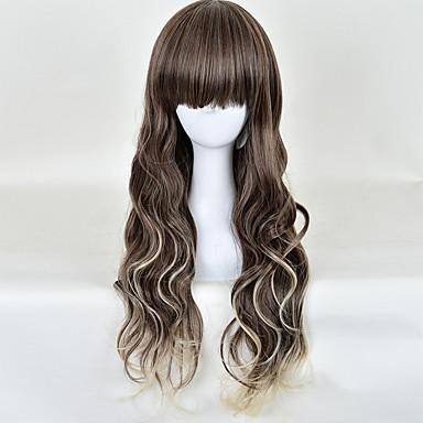 Synthetische Haare Perücken Wellen Kappenlos Lang Braun