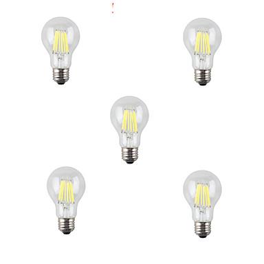 5pcs 8W 760lm E26 / E27 LED-glødepærer A60(A19) 8 LED perler COB Dekorativ Varm hvit Kjølig hvit 220-240V