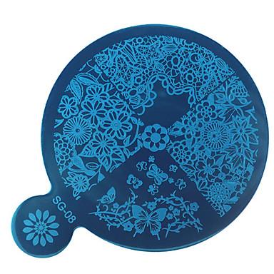 1kpl DIY sininen elokuva Nail Art peili tulostus mallin