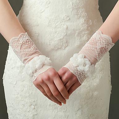 Nylon Elastischer Satin Handgelenk-Länge Handschuh Brauthandschuhe Party / Abendhandschuhe With Blumig