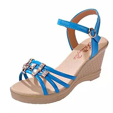 샌달-야외 / 사무실 & 커리어 / 드레스-여성의 신발-웻지-레더렛-웻지 굽-블랙 / 블루 / 핑크 / 화이트