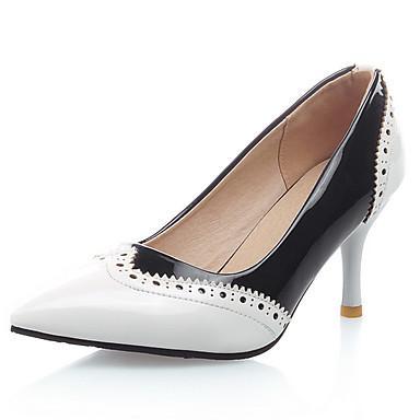 Damen Schuhe Kunstleder Frühling Sommer Stöckelabsatz Kombination für Kleid Party & Festivität Weiß Schwarz Rot