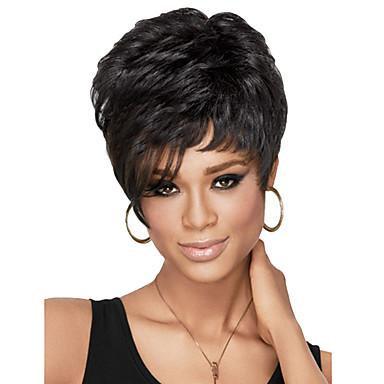 mulheres capless curto encaracolado senhora de cabelo peruca sintética lado NEGROS com rede de cabelo gratuito