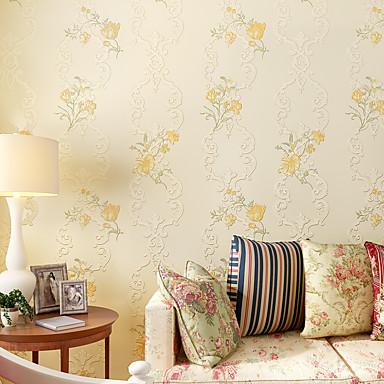 Blumen Haus Dekoration Moderne Wandverkleidung, Nicht-gewebtes Papier Stoff Klebstoff erforderlich Tapete, Zimmerwandbespannung