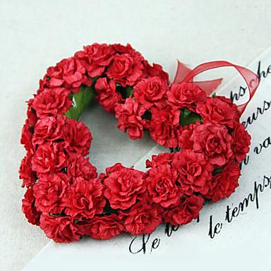 geringe Größe Seide Rosen herzförmigen Kranz Kunstblumen multicolor optional 1pc / set