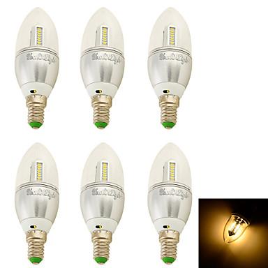 3W E14 LED gyertyaizzók C35 32 SMD 3014 250 lm Meleg fehér Dekoratív AC 100-240 / AC 110-130 / AC 85-265 / AC 220-240 V 6 db.