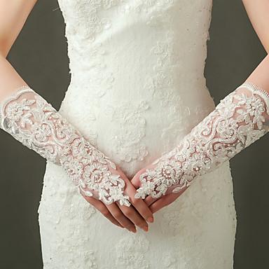 Nylon Elastischer Satin Ellenbogen Länge Handschuh Brauthandschuhe Party / Abendhandschuhe With Perlenstickerei