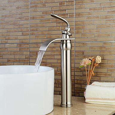 Lavandino rubinetto del bagno cascata nickel spazzolato installazione centrale una manopola un - Rubinetto lavandino bagno ...