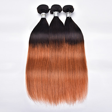 Cabelo Humano Cabelo Brasileiro Cabelo Humano Ondulado Liso Extensões de cabelo 3 Peças # T1B 30