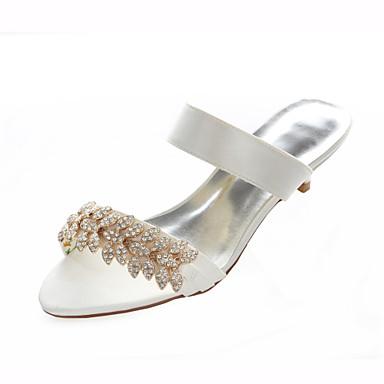 Mulheres Sapatos Cetim com Stretch Verão Salto Baixo Cristais Prata / Ivory / Casamento / Festas & Noite / Festas & Noite