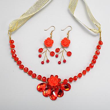 Schmuck-Set Damen / Kinder Hochzeit / Verlobung Schmuck-Set Legierung Kristall Halsketten / Ohrringe Rot