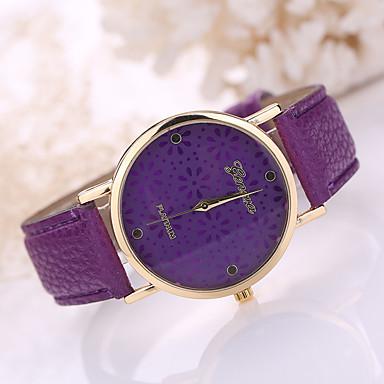 Damen Modeuhr Quartz Armbanduhren für den Alltag Leder Band Blume Schwarz Weiß Blau Rot Braun Rosa