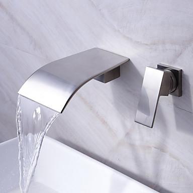 foss Badeværelse sink tappekran utbredt moderne design tappekran (nikkel finish)