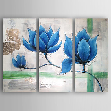 Hang-Ölgemälde Handgemalte - Blumenmuster / Botanisch Modern Segeltuch Drei Paneele