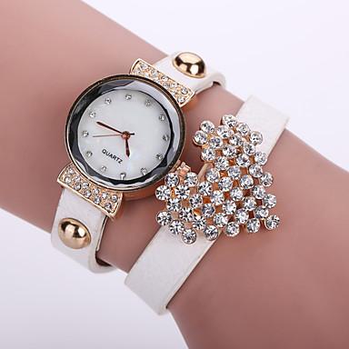 Damen Armband-Uhr Modeuhr Quartz Armbanduhren für den Alltag Leder Band Blume Schwarz Weiß Blau Orange Braun Rosa