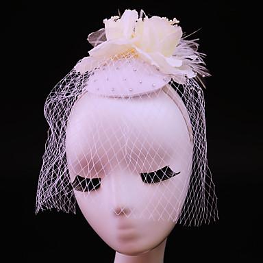 Damen Feder Strass Baumwollflanell Stoff Netz Kopfschmuck-Hochzeit Besondere Anlässe Freizeit im Freien Kopfschmuck 1 Stück