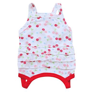 Katze Hund Kleider Hundekleidung Atmungsaktiv Modisch Blumen / Pflanzen Weiß Rot Grün Kostüm Für Haustiere