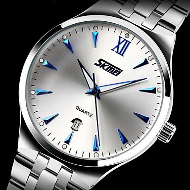 SKMEI Муж. Нарядные часы Кварцевый Японский кварц Календарь Защита от влаги Фосфоресцирующий Нержавеющая сталь Группа Роскошь Серебристый