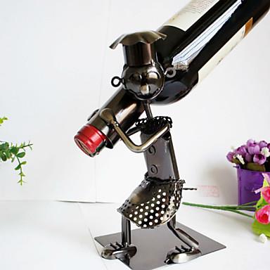 titulares rack de vinho antigo ferro de metal criativo homem do vinho garrafa titular cozinha de casa sala decoração coleção bar de