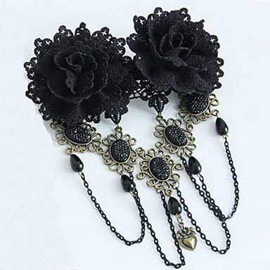 Lolita Jewelry Gothic Lolita Dress Headwear Victorian Black Lolita Accessories Headpiece Lace For Lace Artificial Gemstones