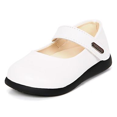 Para Meninas Sapatos Courino / Couro Ecológico Primavera Verão Conforto Rasos Velcro para Preto / Branco / Vermelho / Festas & Noite