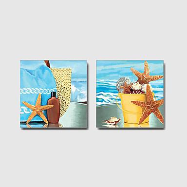 Maalattu Maisema / Asetelma / Leisure / Abstraktit maisemakuvatModerni / Välimeren 2 paneeli Kanvas Hang-Painted öljymaalaus For