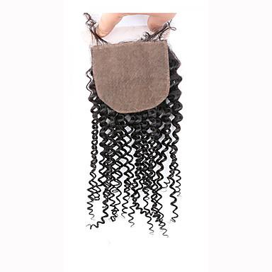 8 12 14 16 18 20inch Koromfekete (#1B) Kézi készített Kinky Curly Emberi haj Bezárás Világos barna Svájci csipke 45 gramm ÁtlagosCap