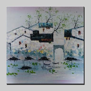 Kézzel festett Absztrakt / Landscape / Absztrakt tájkép / PopModern Egy elem Vászon Hang festett olajfestmény For lakberendezési
