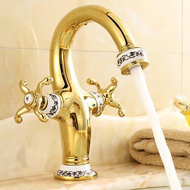 Kupaonica Sudoper pipa - Waterfall Antique Brass Središnje pozicionirane Dvije ručke jedna rupa