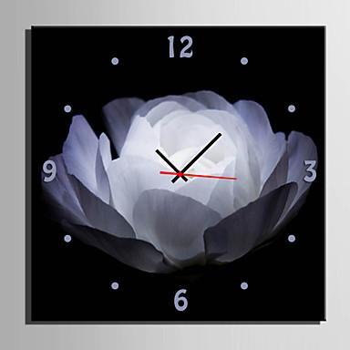 1 stk kreative moderne e-home® hvide blomster ur i analogt lærred