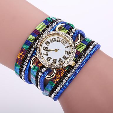 Damen Modeuhr Armband-Uhr Quartz Leder Band Blume Schwarz Weiß Blau Orange Braun Rosa Dunkelblau Fuchsia Rot Golden Hellblau