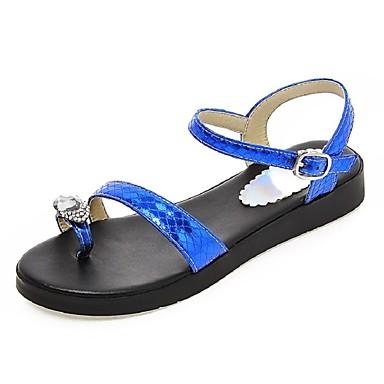 Damen Schuhe Kunstleder Frühling Sommer Zehenring Gladiator Plattform Kristall Für Normal Kleid Schwarz Silber Blau Golden