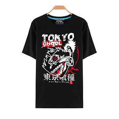 Inspirado por Tokyo Ghoul Ken Kaneki Anime Fantasias de Cosplay Cosplay T-shirt Estampado Manga Curta Blusa Para Homens