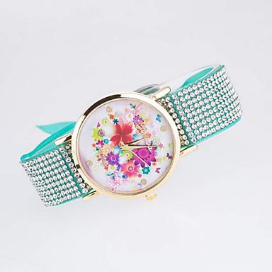 Damen Modeuhr Simulierter Diamant Uhr Quartz Armbanduhren für den Alltag Legierung Band Schwarz Weiß Blau Silber Rot Braun Lila Mehrfarbig
