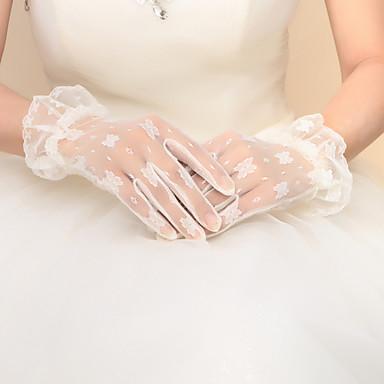 Nylon Baumwolle Handgelenk-Länge Handschuh Charme Stilvoll Brauthandschuhe Party / Abendhandschuhe With Stickerei Einfarbig