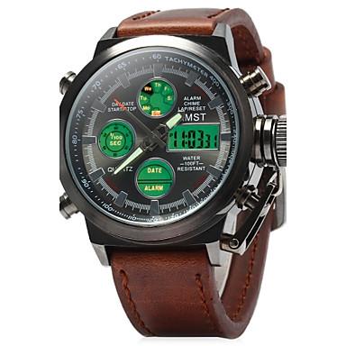 Masculino Relógio Militar Relógio de Pulso Quartzo Quartzo Japonês LED LCD Calendário Impermeável alarme Luminoso Relógio Casual Couro