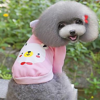 כלבים טי שירט צהוב / ירוק / כחול / ורוד בגדים לכלבים קיץ / קיץ/אביב אנימציה חמוד / יום יומי\קז'ואל