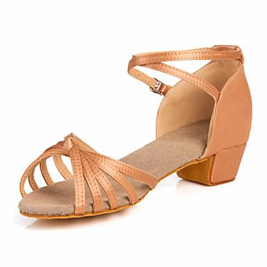 baratos Sapatos de Samba-Mulheres Sapatos de Dança Cetim Sapatos de Dança Latina / Dança de Salão Sandália Salto Baixo Não Personalizável Transparente / Bronze / Crianças / Couro / Couro / EU39