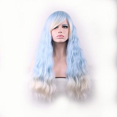 Damen Synthetische Perücken Kappenlos Lang Kinky Curly Hellblau Kostüm Perücken